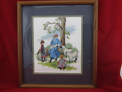 Finished Completed Cross Stitch Amish Girls With Sheep Framed & Matted