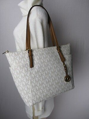 6c7a7820ae84 NWT MICHAEL KORS Jet Set Vanilla Gold MK Signature EW Tote Shoulder Bag  Purse