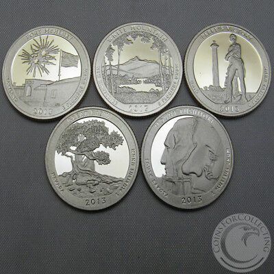 2013-S Bu National Parks Quarter Proofs Set Of 5 America The Beautiful