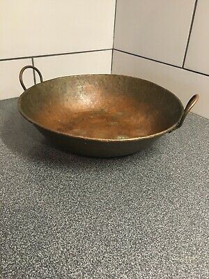 "Antique Rare Large Hand Hammered Copper Pot with Two Handles ~14""x3-1/2"" Old"