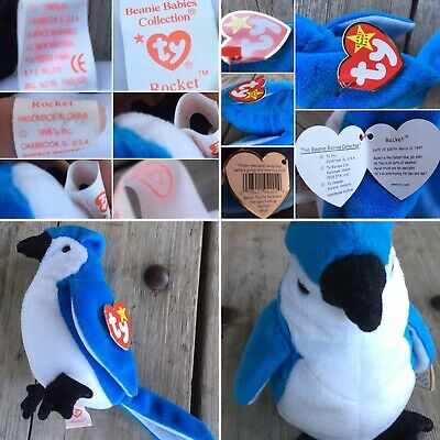 Rocket Beanie Baby W/ Tush Tag & Paper Tag Date Of Birth March 12, 1997