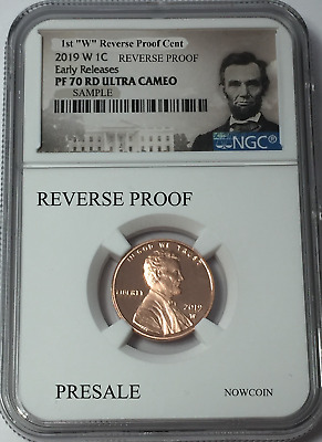 2019-W Ngc Pf70 Lincoln Cent Reverse Proof Early Releases Portrait Label Presale