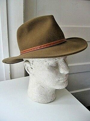 Vintage Outback Randwick 1321 Brown Wool Indiana Jones Style Hat - 21 1/2""