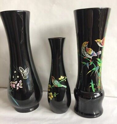 Vintge Oriental Lacquered Vases x 3 - Beautiful hand painted bird designs