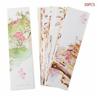 30Pcs/set Flower Bookmarks Collection Bookmark Paper Cards Boxed Bookmark Gifts