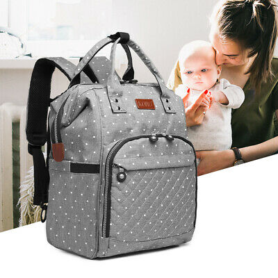 Mummy Changing Bag Baby Diaper Nappy Backpack Multi-Function Bag Polka Dot Grey