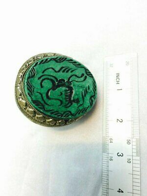 Afghan Animal Crave Natural Malachite Huge Ring Alpaca Silver 14.5US Size Tribal