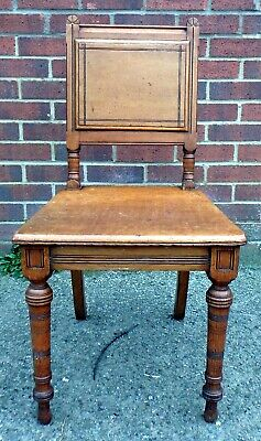 Victorian antique Aesthetic Movement Arts & Crafts solid oak side hall chair