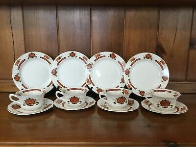 Royal Staffordshire Wilkinson Vintage Betsy 4 Cups 4 Saucers 4 Tea Plates
