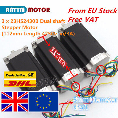 【UK】3PCS Nema23 Stepper Motor 425oz.in 112mm 3A Dual Shaft for CNC Rounter