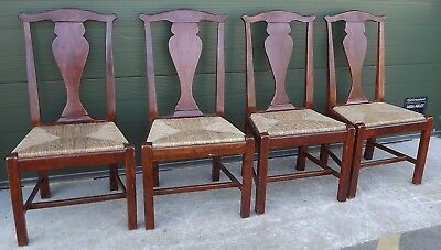 Set of 4 Mahogany Rush-Seated Dining Chairs Theodore & Alexander Antique Style