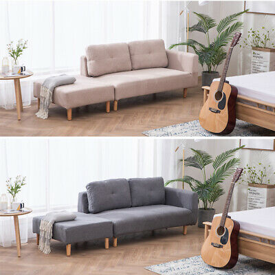 3 Seater Settee Apartment Lounge Tub Sofas Chairs Relax Couch Mid-Century Fabric