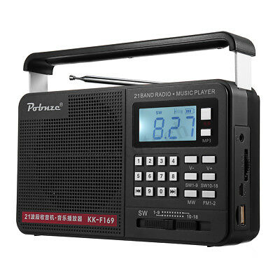 Portable Radio LCD Digital AM FM SW USB TF MP3 Player Speaker Rechargeable  ❤