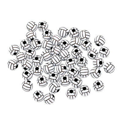 50pcs Volleyball Round Acrylic Loose Large Hole Bead for Jewelry Making 12mm
