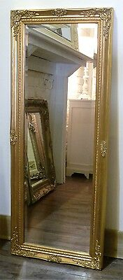 "Cannes Gold Shabby Chic Full Length Antique Dress Mirror 52"" x 16"" (132 x 40cm)"