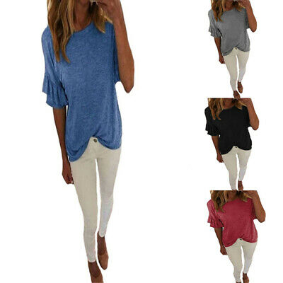 Fashion Women Multi-color Solid T-shirt Loose Casual Short Sleeve Plus Size Top