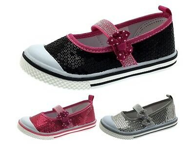 Girls Sequin Pumps Mary Jane Flat Ballet Shoes Party Ballerinas Bow Shoes Size