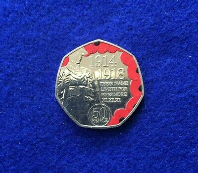 2018 Isle of Man First World War Centenary Remembrance Poppy 50p Coin