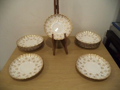1 Spode Fine Bone China England Y8063 Fleur De Lys Gold Saucers  New Old Stock