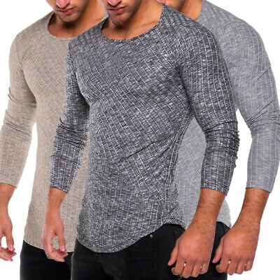 UK Men's Muscle Casual Slim Fit Knitted Long Sleeve Jumper Gym T-shirt Tops Tee