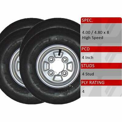 """TRIDENT Pair of 8/"""" Trailer Wheels 4.00-4.80 X 8-4 Stud 100mm PCD 4 Ply Tyres"""