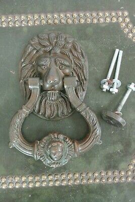Quality Vintage large brass lion door knocker circa 1930's. 7.5 inches x 5.25 K3