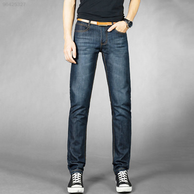 B270 Men's Fashion Solid Casual Straight Jeans Denim Trousers Full Length