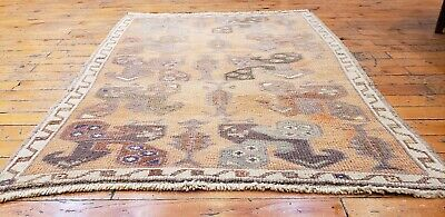 Sweet Antique 1930-1939s Muted Dyes Wool Pile Oushak  Area Rug 2'5''x3'