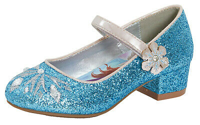 Kids Girls Disney Frozen Dress Up Shoes Glitter Princess Low Heels Party Size
