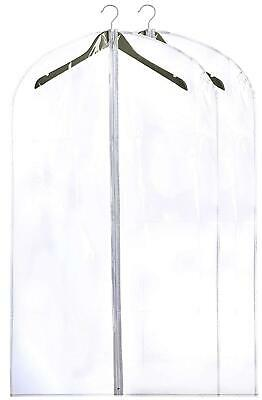 2 Clear Garment Bags Heavy Duty Plastic Cloth Suit Dress Hanging Travel Storage