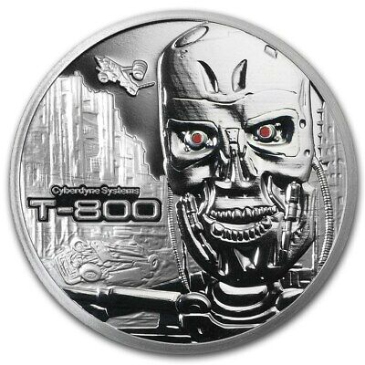 "Terminator ""T-800"" High Relief 1 oz .999 Silver Proof Round - Stardust Silver"
