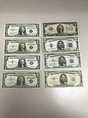 Lot of Silver Certificates $21 Face Value Assorted Years1928,1934,1935,1953,1957