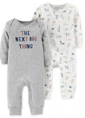 Nwt Carters Baby Boy 2 Pack Romper Coveralls Outfit Size 3 Months