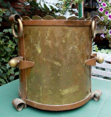 Large Vintage French Brass & Copper Arts & Crafts Jardiniere
