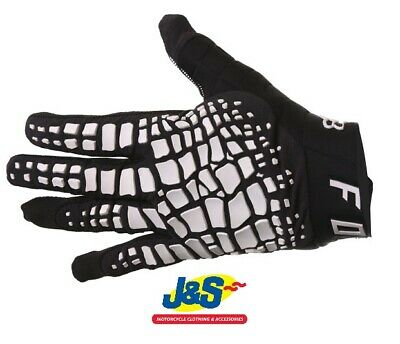 Fox 360 Grav Motorcycle gloves Motorbike MX Off-Road Black White BMX Discounted