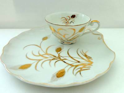 Lefton Snack Set Gold Wheat Pattern - Set of 4 Cups & Plates