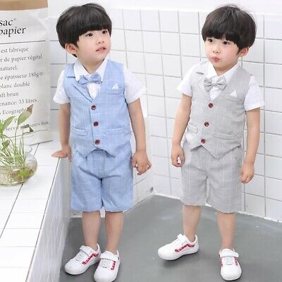 NEW 4Pcs Formal Toddler Children Boy Kids Short Suit Wedding Party Outfits  1-8Y
