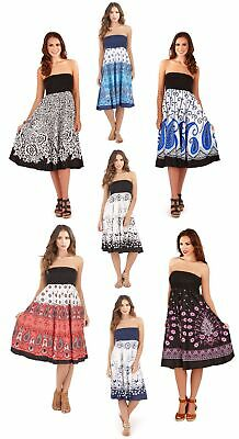 Womens 2 In 1 Strapless Cotton Beach Summer Dress / Long Maxi Skirt Ladies Size