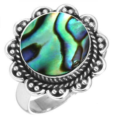 925 Sterling Silver Women Jewelry Natural Abalone Shell Ring Size 12.5 Cc60560