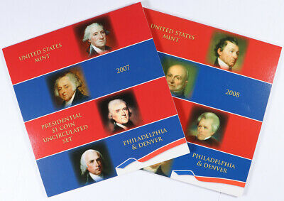 Lot of 2 2007-P/D United States Mint Presidential $1 Coin Uncirculated Set Unc
