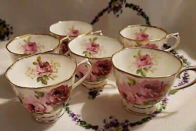 ROYAL ALBERT American Beauty TEA CUPS - 2 CUPS