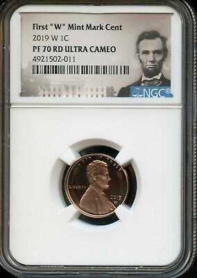 """2019 W 1c NGC PF 70 RD(Proof 70 Red) Ultra Cameo First """"W"""" Mint Mark Cent TA54"""