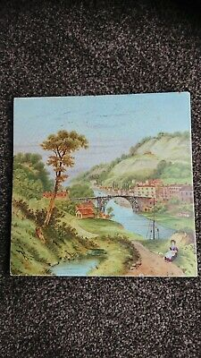 Antique Hand Painted Pottery Tile, Ironbridge Gorge View.unusual,old. 8 X 8""