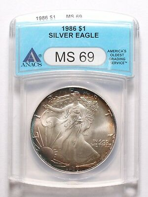 1986 American Silver Eagle ANACS MS-69 Toned