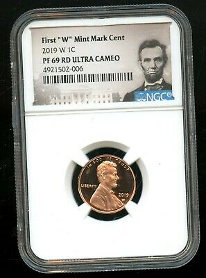 """2019 W 1C NGC PF 69 RD(Proof 69 Red) Ultra Cameo First """"W"""" Mint Mark Cent TA63"""