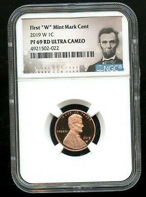 """2019 W 1C NGC PF 69 RD(Proof 69 Red) Ultra Cameo First """"W"""" Mint Mark Cent TA67"""