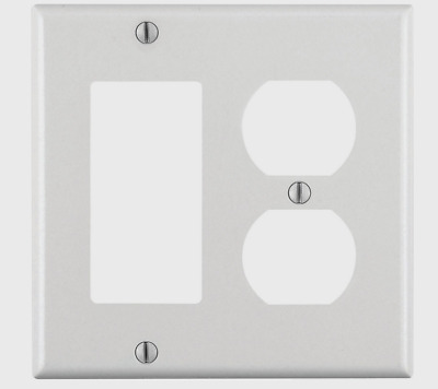 New! LEVITON Duplex/GFCI/Rocker 2 Gang WALL PLATE Smooth WHITE Plastic 80455-00W