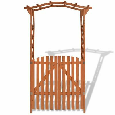 2 in 1 Solid Wooden Garden Arch with Gate Climbing Plant Roses Pergola Archway