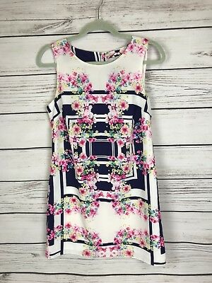 Womens Red Herring Sleveless Summer Dress Size 10 Pink Navy White A53