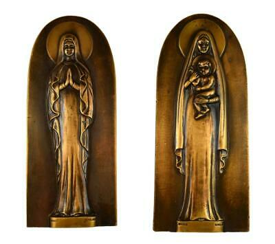 Amazing Pair Of Antique French S. Melani Signed Bronze Religous Plaques Of Mary